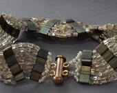 Green & Gold Waves Hand Beaded Bracelet