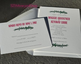 Rosemary Sprigs and Recipe Card Wedding Invitation and RSVP Postcard Set of 50
