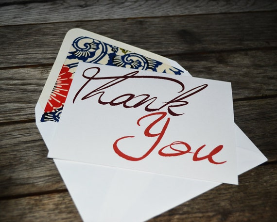 Thank You Note Set with Floral Lined Envelopes