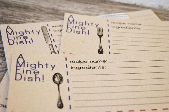 A Mighty Fine Dish Recipe Card Set of 12 on Kraft Stock