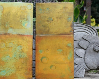 Original, one of a kind painting Shimmery Gold/Green/Blue - 2 panel