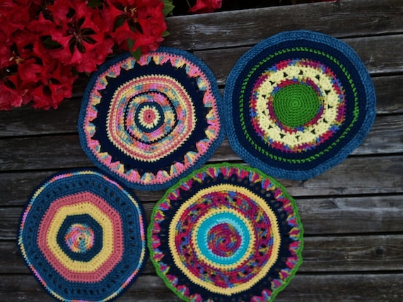 Bold Colors Crocheted Placemat Set of Four