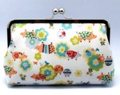 SALE - Super Cute Piglets (Japanese Cotton Fabric) - Large Clutch Purse (L-014)
