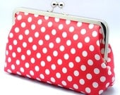 White Polka Dots on Red- Large Clutch Purse (L-040)