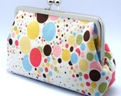 Grand Opening SALE - Colourful Polka Dots with Different Sizes - Large Clutch Purse (L-045)