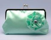 Aqua Satin clutch purse with  rhinestone satin flower (L-116)