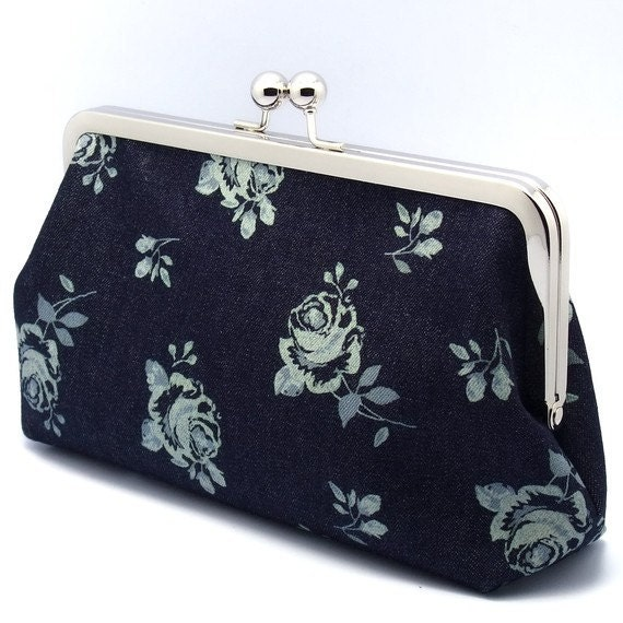 SALE - White Roses on Blue - Large Clutch Purse (L-063)