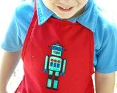 Child's Art Apron - Red with Robots