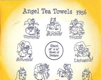 Aunt Martha's Hot Iron Transfers Angel Tea Towels