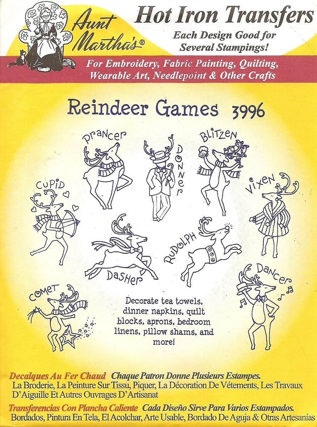 Aunt Martha S Hot Iron Transfers Reindeer Games