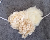 Cream Chiffon, Cotton, Lace Flower Headband - READY TO SHIP