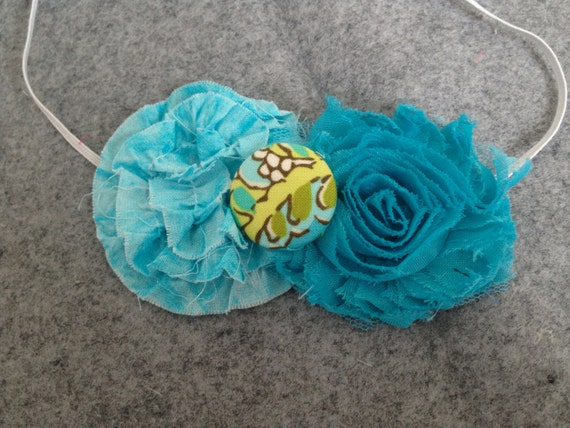 Reserved for Regina - Turquoise-Teal Fabric and Chiffon Flower