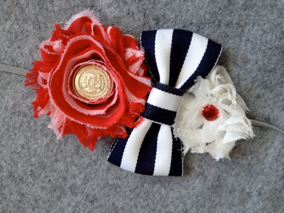 Red White and Blue Sailor Chiffon Flower and Striped Bow Headband - READY TO SHIP