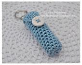Hand Crochet  BLUE Lip Balm Cozy with Lip Balm - By Tab Robinson