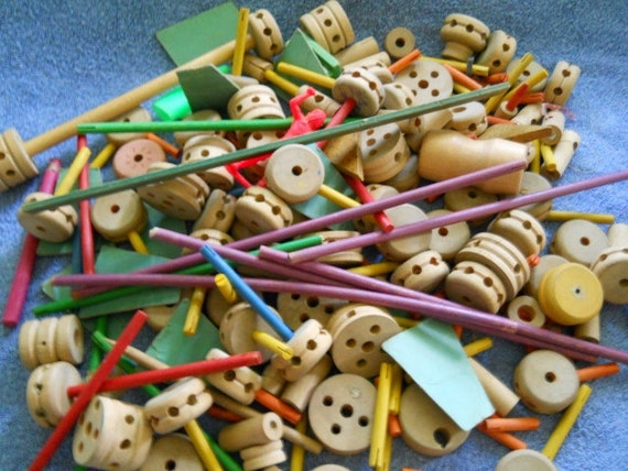 Tinker Toys For Boys : Vintage tinker toys wood by vintagedustcollector