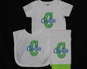 Personalized Custom Applique Initial and Name Baby Boy Onesie, Bib and Burp Cloth Set