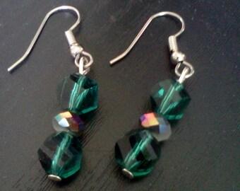 Teal Green Crystal Dangle Earrings