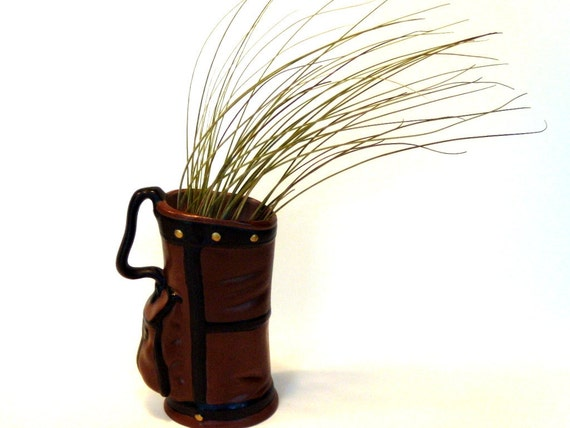 Gift for Dad - Vintage Ceramic Golf Bag with Wispy Air Plant