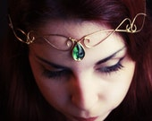 RESERVED (for NadirahR) Emerald Green Golden Elven Circlet Tiara