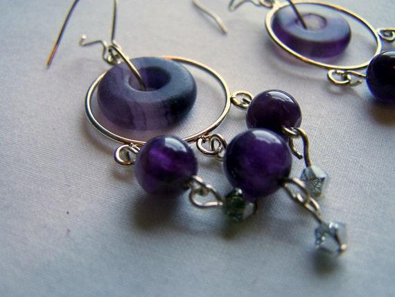 Amethyst & Rainbow Flourite Chandelier Earrings - FREE SHIPPING
