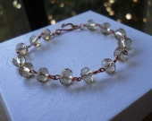 Copper and Champagne Bracelet faceted Crystal
