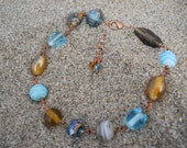 Linked Glass Bead Sand & Sea Anklet