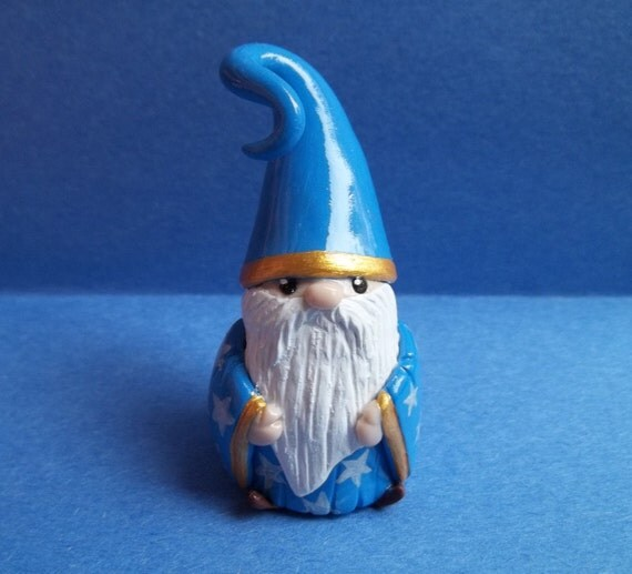 Mini 2 inch tall Wizard Garden Gnome with Pumpkin for Planter, Terrarium, Shelf, or Window sill