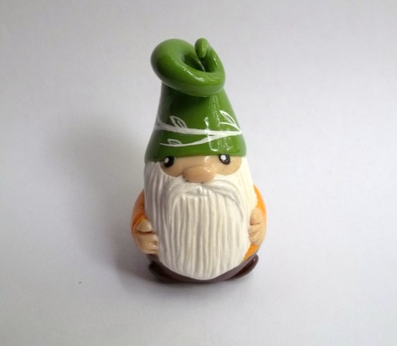 Mini Garden Gnome- with moss green hat for planter, terrarium, shelf, or window sill