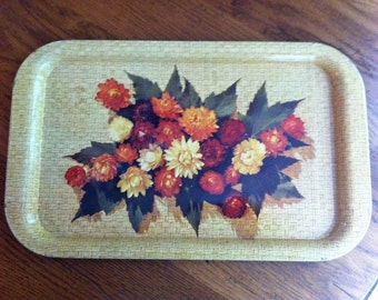 Metal Tray 70's Fall Mum Flower Small Vintage