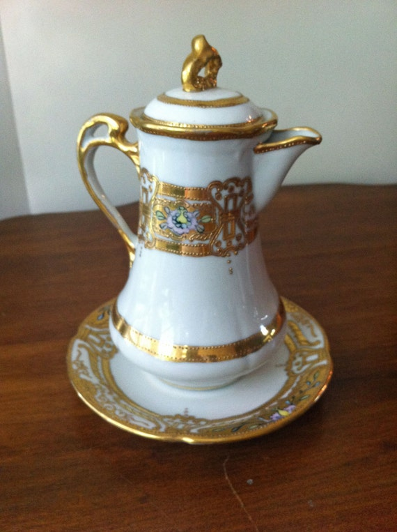 Gold Gilded China Creamer with Lid Mikado Extra Japan Vintage
