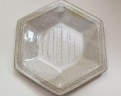 Stoneware Baking Dish 6 Sided Rolled Pattern