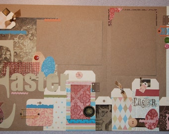 Easter 12x12 Premade Two-Page Scrapbook Layout - spring, holiday, seasonal