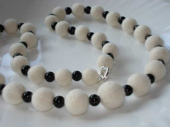 Beaded Long Strand Necklace White Wool Felt Beads & Black Agate Onyx, Spring Summer Autumn Fall Winter Eco Fashion Trend Jewelry Gift ideas