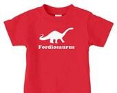 Personalized kids dinosaur t-shirt featuring brontosaurus, kids dinosaur birthday t shirts