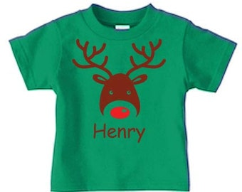 Personalized reindeer t shirt for a boy, Kids Christmas t shirts