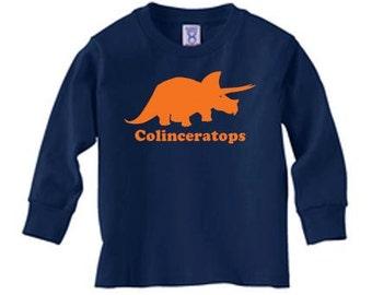 Personalized Kids dinosaur long sleeve t shirt, dinosaur name t shirt, triceratops shirt, kids gift