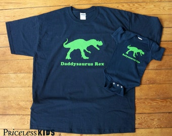 Daddy and baby dinosaur shirt, father and son matching shirt, dad and baby matching shirts, new dad gift, gifts for dad