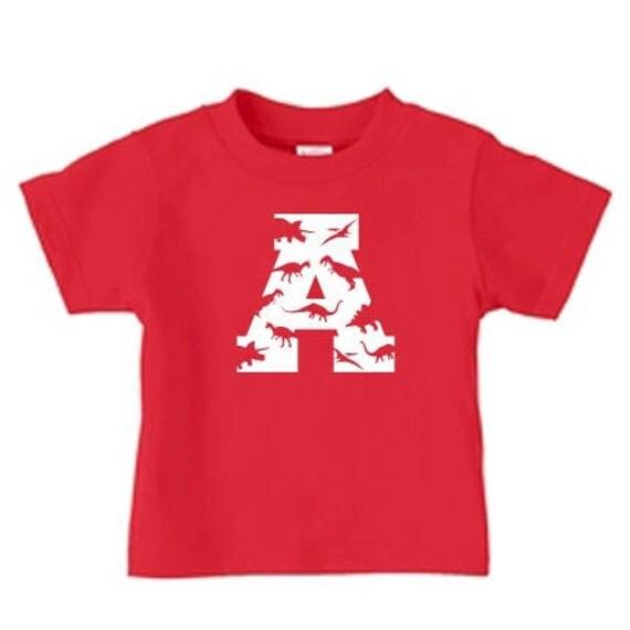 Dinosaur birthday initial or number t shirt, personalized dinosaur t shirt