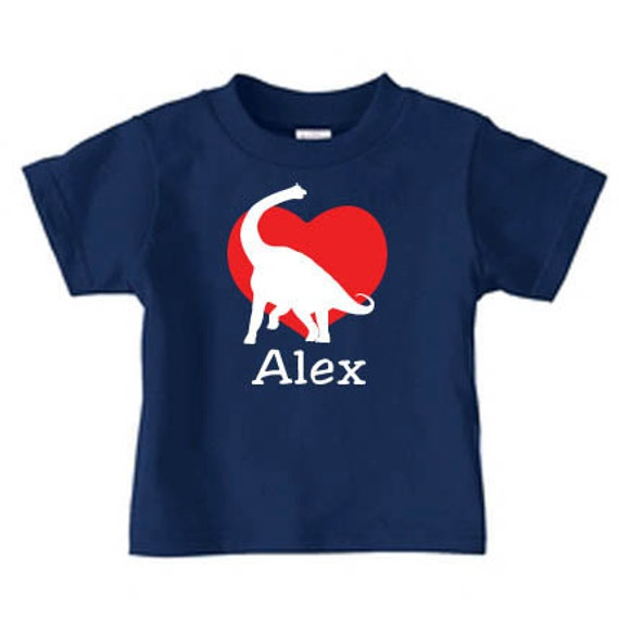 Personalized valentine dinosaur heart t shirt for kids i love