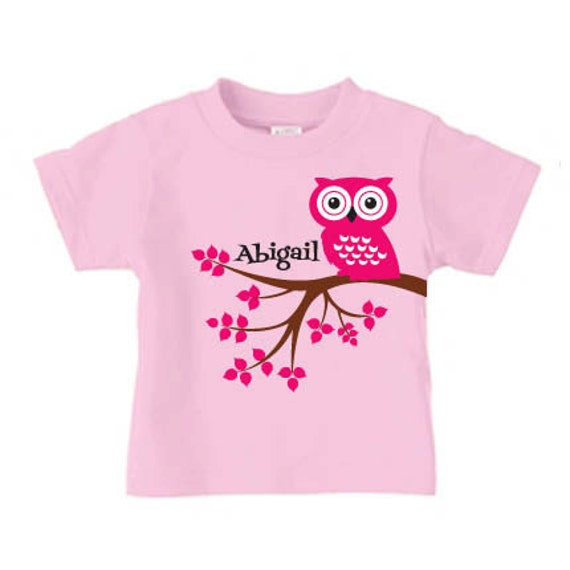 Personalized cute owl t-shirt for girls birthday shirt for