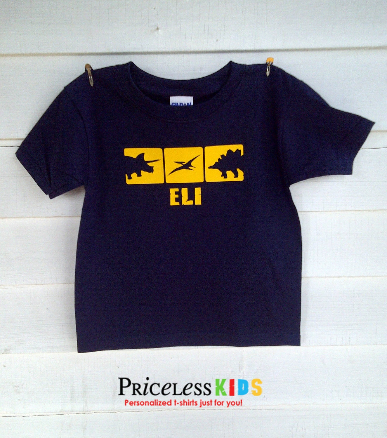Personalized dinosaur t shirt for kids 3 favorite by for Custom kids t shirts