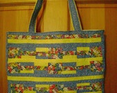 Tote Bag   Vintage fabrics in Blue, Yellow and Multicolored Flowers