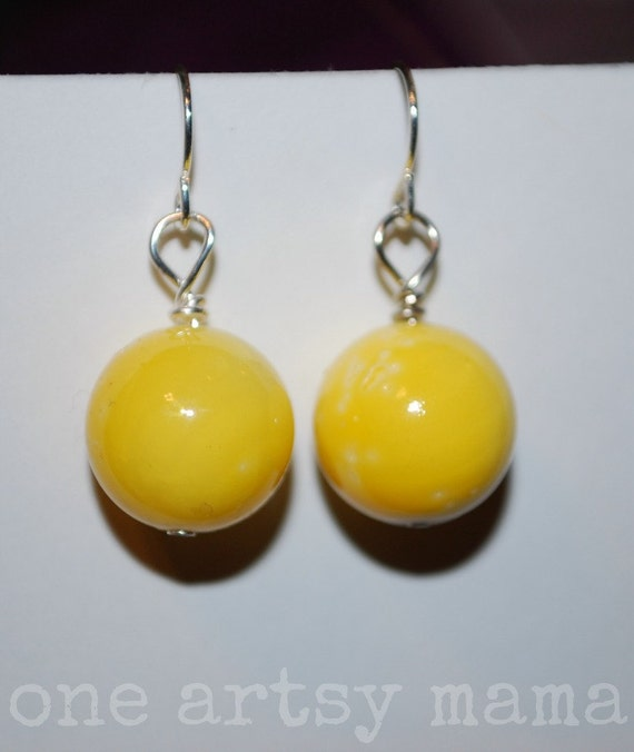 Yellow Ball Earrings