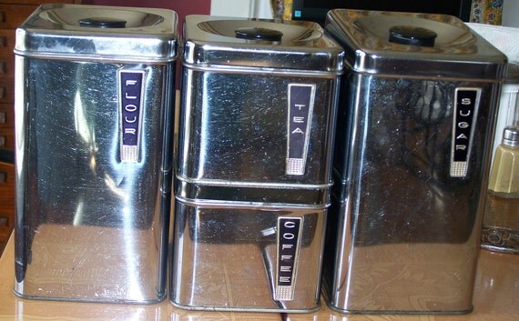 Retro 1960's Lincoln BeautyWare Canister Set