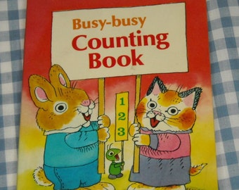 richard scarry's busy-busy counting book, vintage 1977 children's mini book