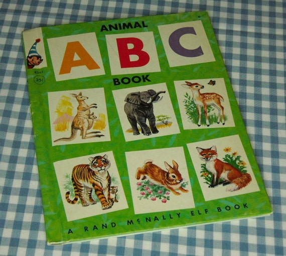 RESERVED FOR LINDA  animal abc book, vintage 1964 children's rand mcnally elf book