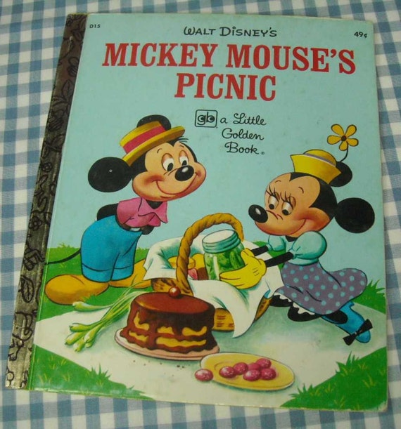 mickey mouse's picnic, vintage 1974 children's little golden book
