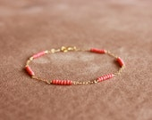 bright coral - dash gold bracelet