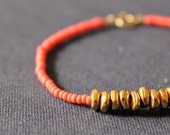 last one - bright coral red - gold & metal bracelet