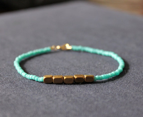 reserved - turquoise - brass & gold bracelet